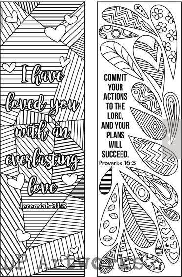 Set of 6 Bible Verse Coloring Bookmarks