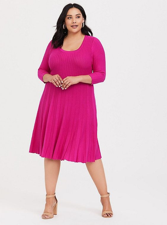 Hot Pink Skater Sweater Dress in 2019 | Products | Pink plus ...