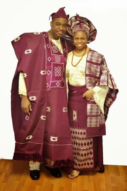 African Clothing Burgundy And Cream African Attire For