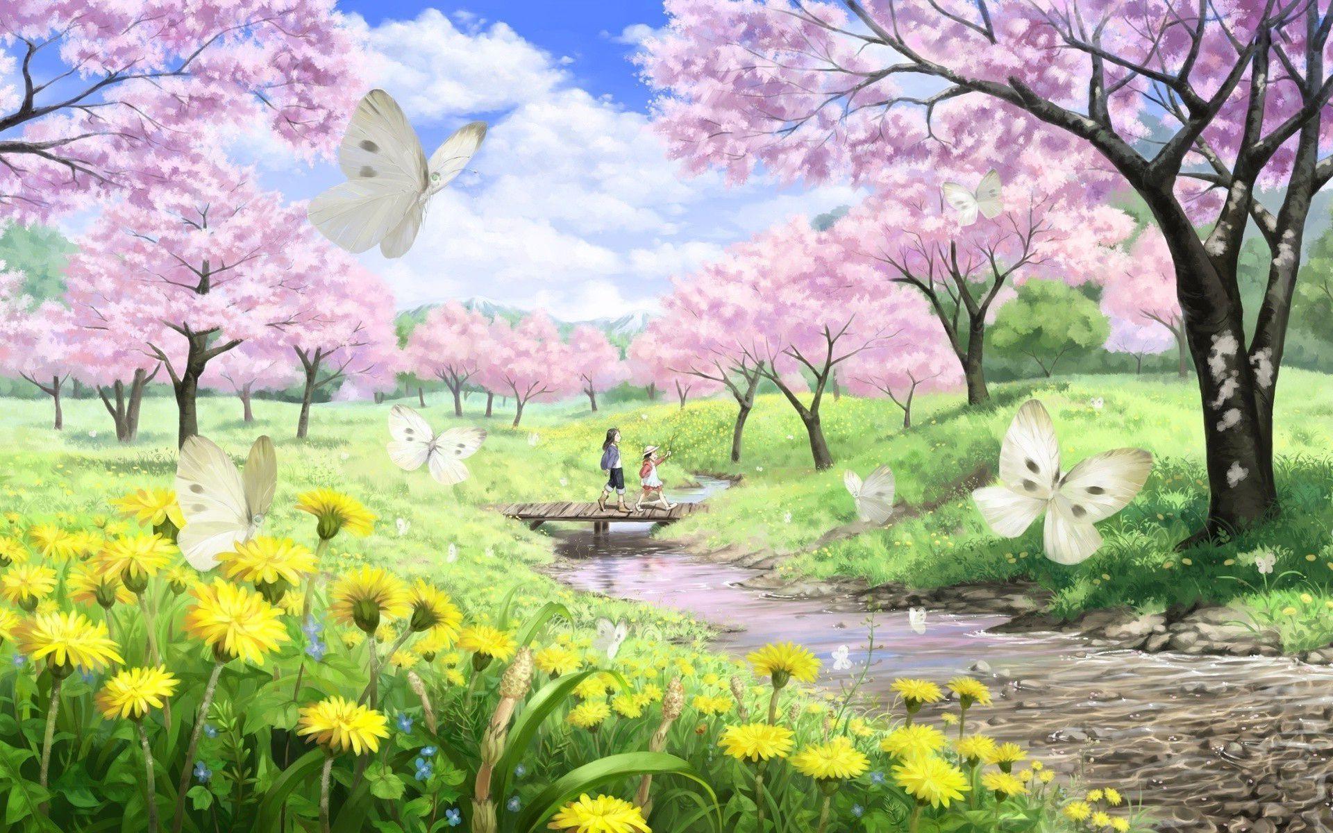 Spring Meadow Hd Desktop Wallpaper High Definition Fullscreen Pemandangan Anime Pemandangan Khayalan Latar Belakang