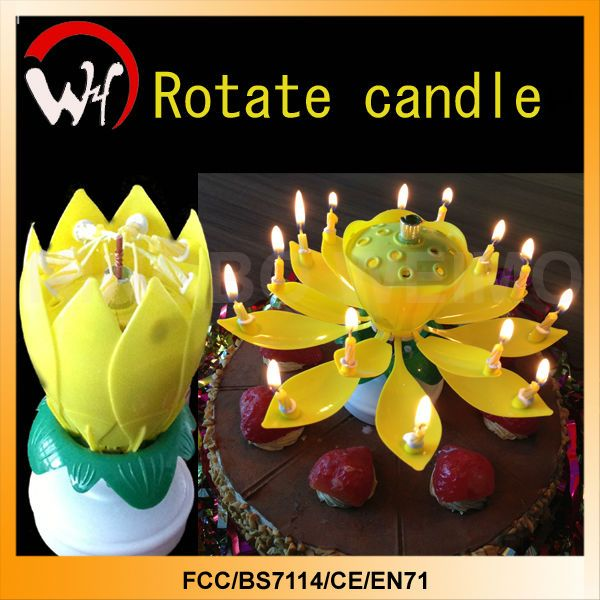 Music Rotating Flower Lotus Magic Singing Electronic Birthday Candle