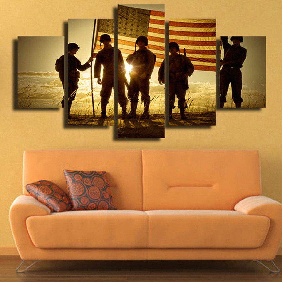 Military Soldiers At Sunset Wall Art Print On Canvas Large Canvas Prints Wall Art Canvas Painting Canvas Art Wall Decor