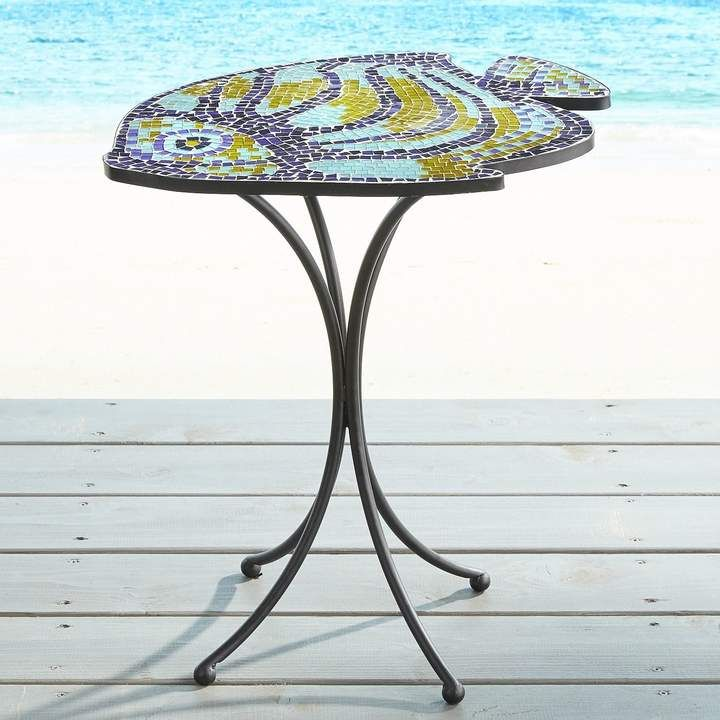Fish Mosaic Accent Table Great Fish Mosaic Side Table For Coastal Living  Decor#mosaicaccenttable#
