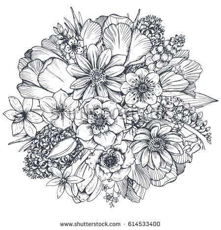 Floral Composition Bouquet With Hand Drawn Spring Flowers And Plants Monochrome Vector Illustration In