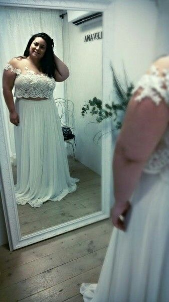 Cute Plus Size Crop Top Wedding Dress With Off Shoulder Floral