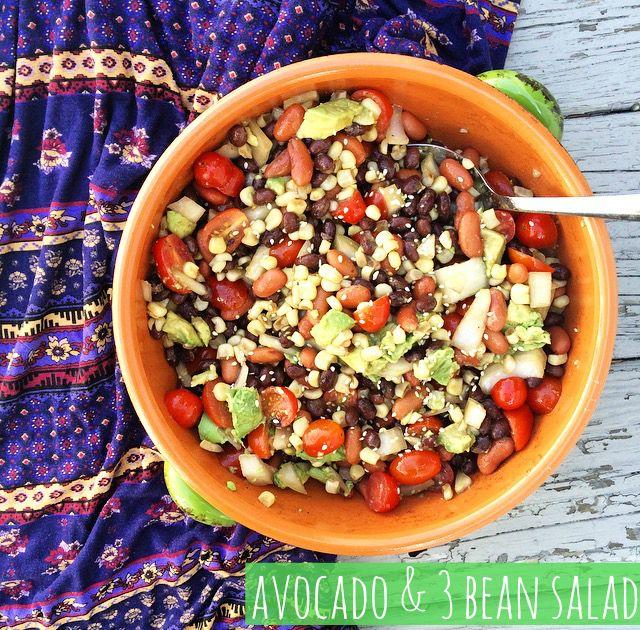 Avocado 3 Bean Salad Avocado Salad Recipes Salad Recipes Healthy Food Inspiration