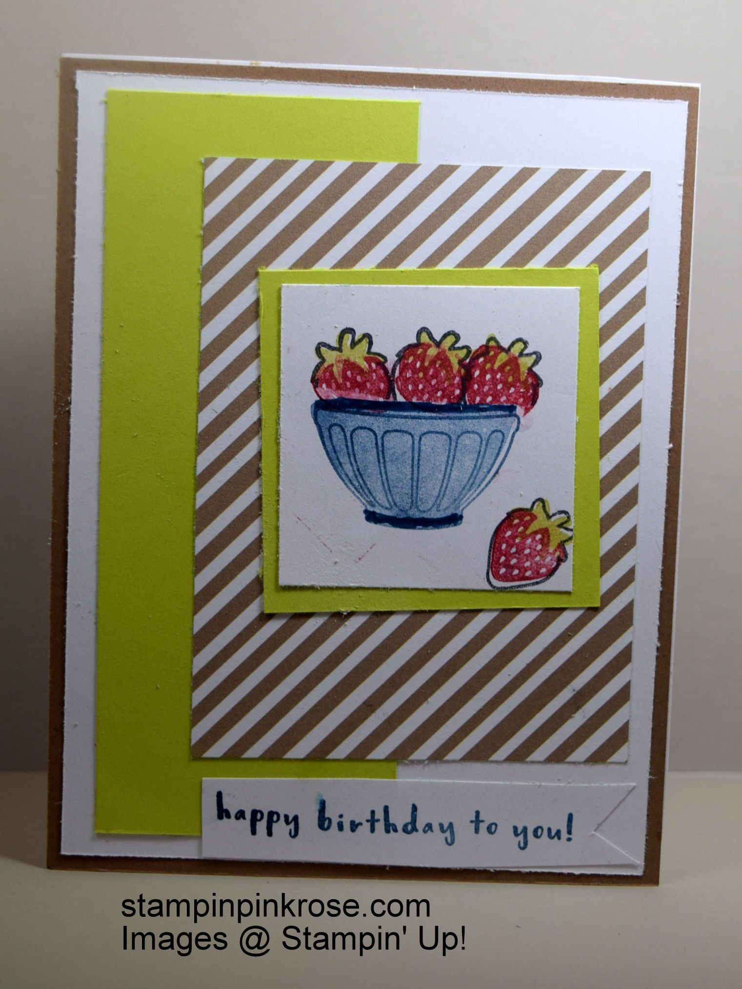 Stampinu up birthday card made with fruit bowl stamp set and