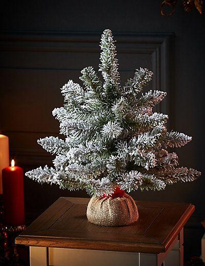 1 5ft Flocked Christmas Tree M S Flocked Christmas Trees Christmas Decorations Christmas