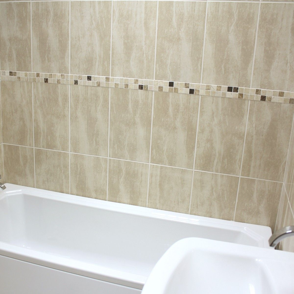 a gloss cream travertine effect ceramic wall tile the palace cream is an ideal size - Bathroom Tiles Cream