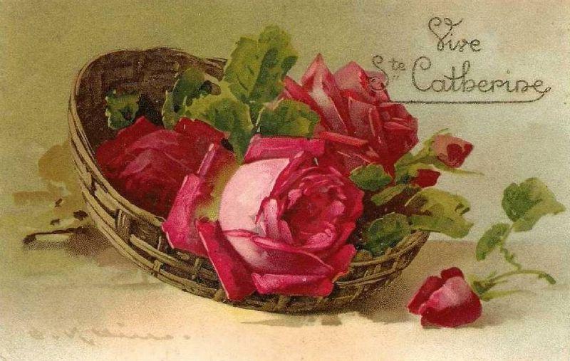 cpa klein ste catherine | fleurs, oiseaux .. vintages