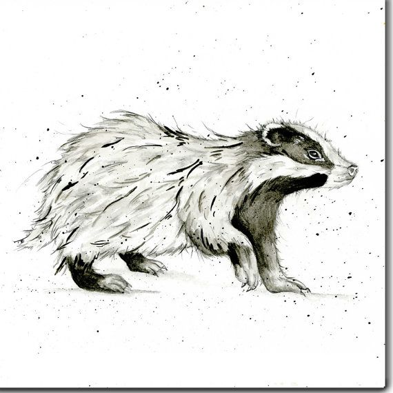Badger Greeting Card Animal Birthday Card Blank Inside Etsy In 2021 Badger Illustration Badger Badger Tattoo