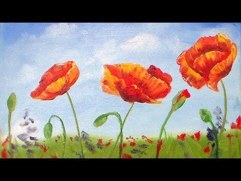 Poppies Oil Painting Beginner Tutorial Poppy Painting Painting Flowers Tutorial Painting