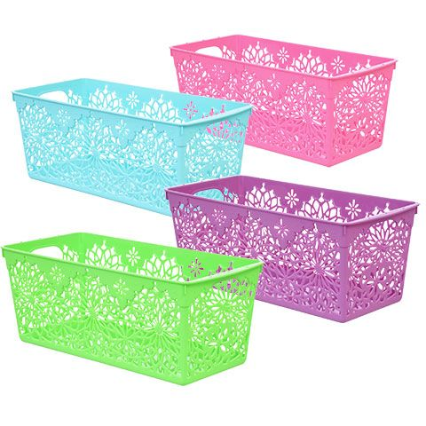 Daisy Design Laser Cut Plastic Storage Bins. Colors: Blue, Green, Pink,  Purple Width: 5.5 In. Height: 4.625 In. Length: 11.875 In.