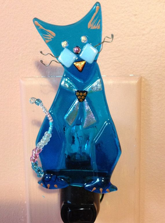 Whimsical Cat Fused Glass Night Light with by KelticFyre on Etsy, $28.00
