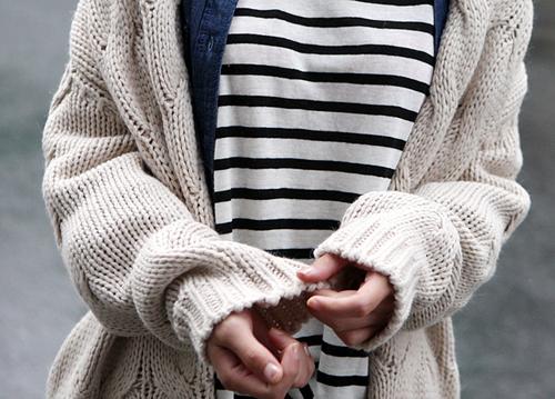 Stripes + cozy cardigan #styleeveryday