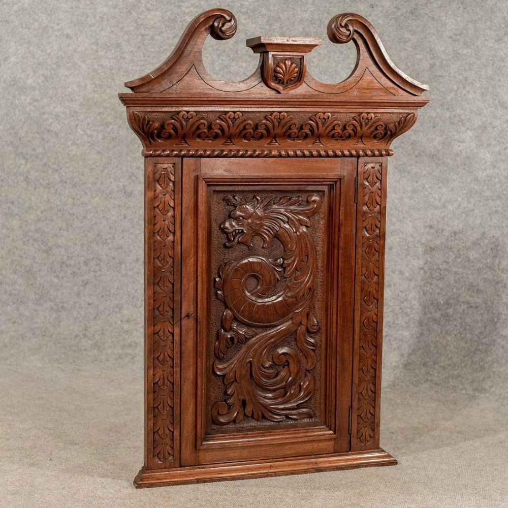 Pennsylvania Spice Cabinet Plans: Antique Walnut Carved Corner Cabinet Cupboard Quality