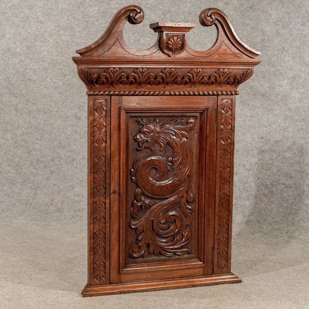 Pennsylvania Spice Box Plans: Antique Walnut Carved Corner Cabinet Cupboard Quality