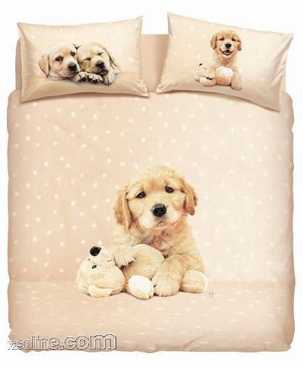 Lenzuola Matrimoniali Con Cani.Set Copripiumino Lenzuola Matrimoniale Golden Puppy Rachael