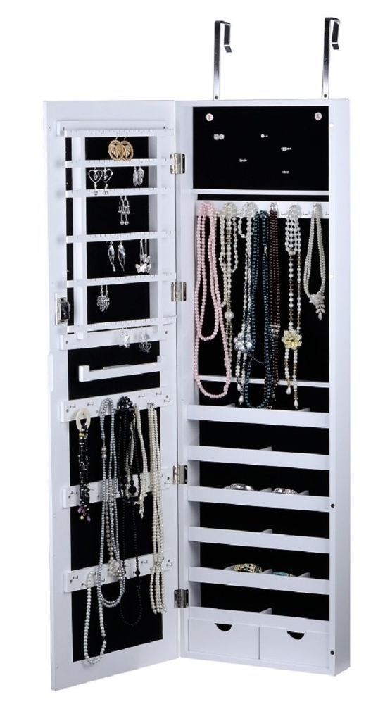 WallDoor Mount Jewelry Cabinet Storage Mirror Drawers Display