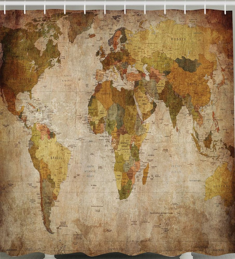 World map shower curtain fabric rustic primitive antique globe world map shower curtain fabric rustic primitive antique globe vintage bathroom gumiabroncs Gallery