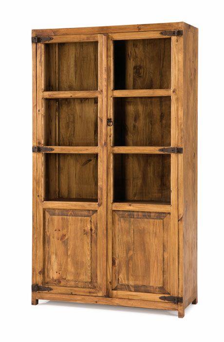 vitrina estilo #rústico #mejicano grande 2 puertas de cristal y ...