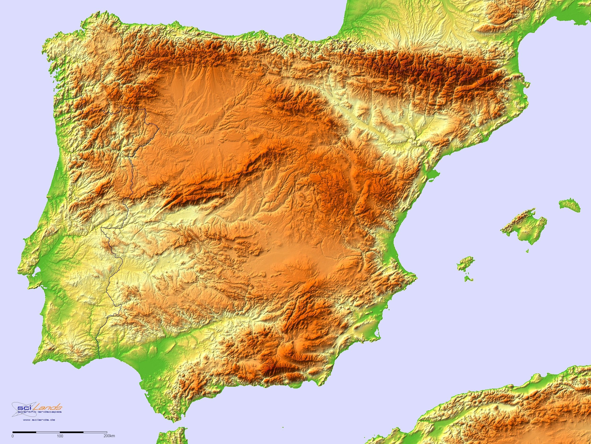 A Detailed Topographic Map Of The Iberian Peninsula By Sci Lands - Portugal map iberian peninsula