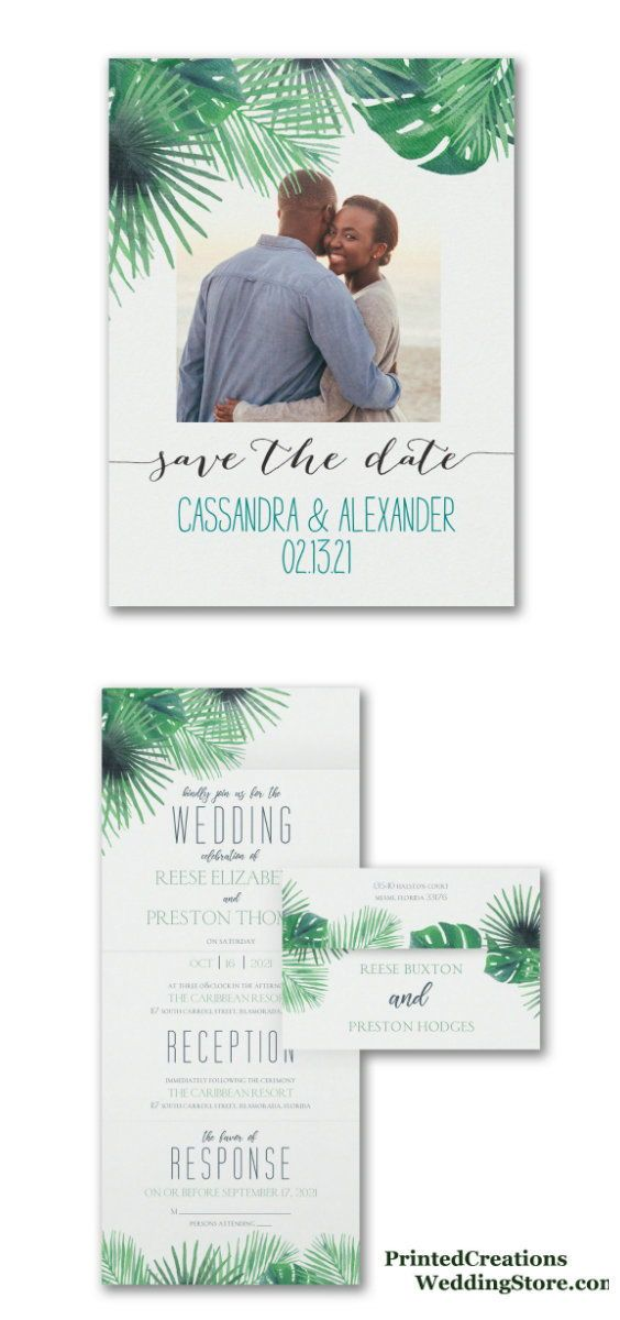 Exotic Palms Seal u0027n Send Wedding Invitation