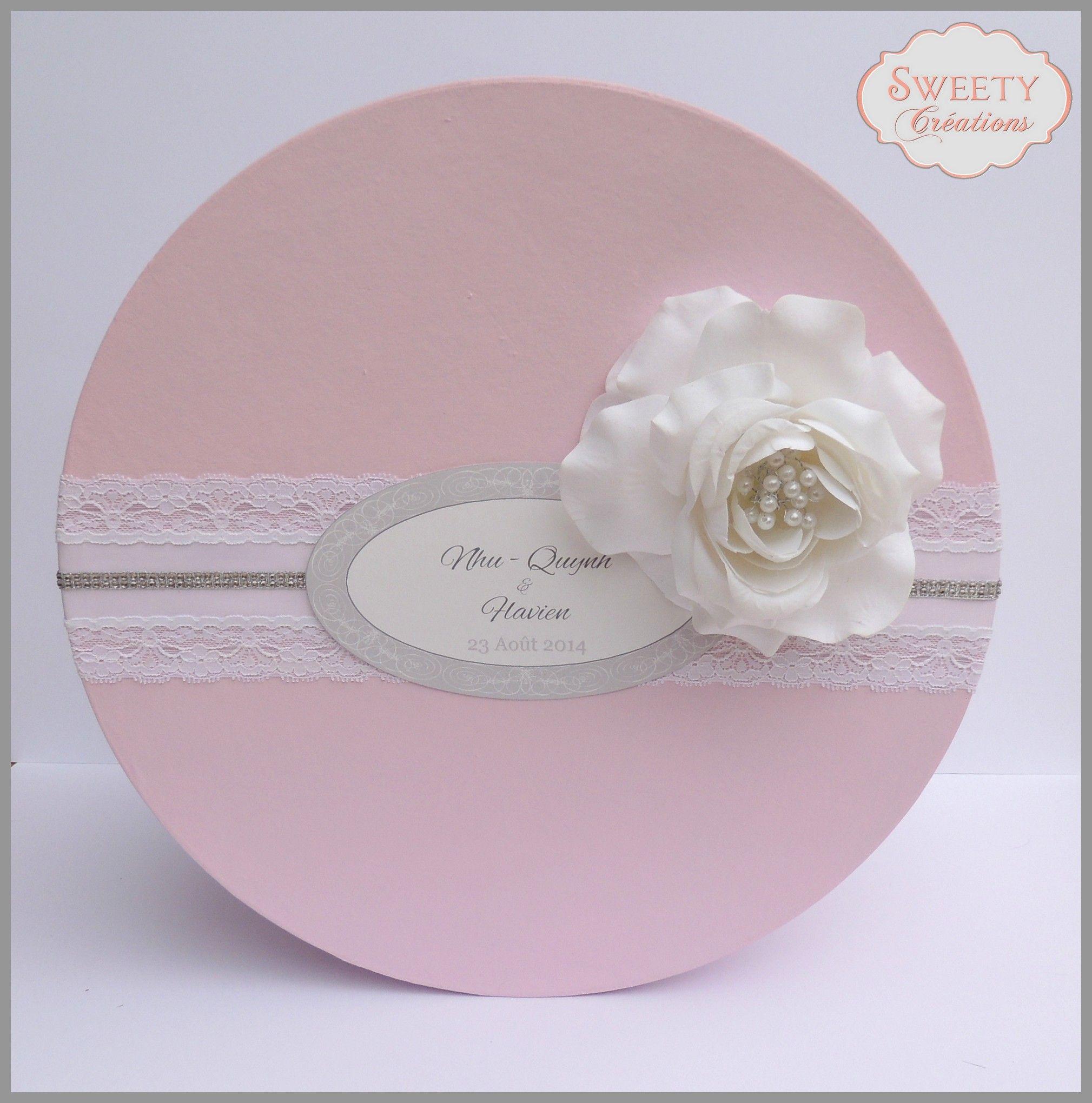 Urne Romantique Rose Poudre Dentelle Fleur Romantic Wedding