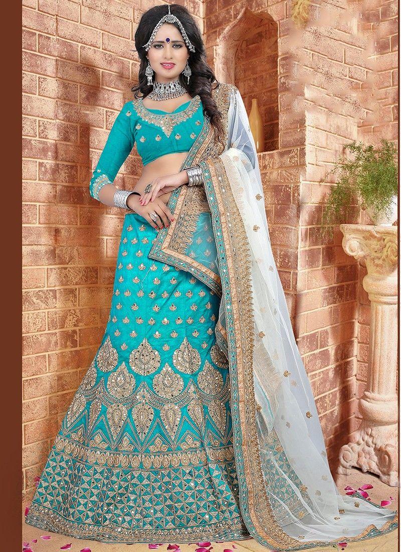 015ef53d95974a Refreshing Sky Blue Silk Net Embroidered Work Indian Designer Lehenga Choli  At Best Price By Uttamvastra