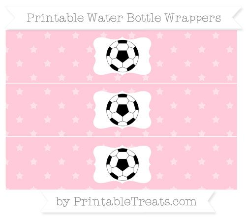 Free Pink Star Pattern Soccer Ball Water Bottle Wrappers