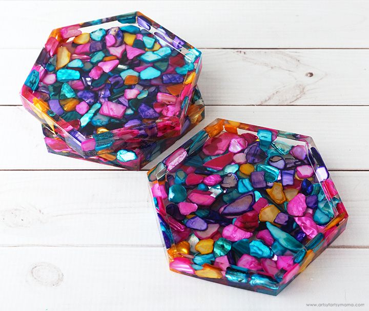 Dyed seashell resin coasters in 2020 resin crafts diy