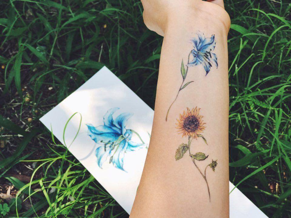 Flower temporary tattoos set of 8 flower tattoos lavender