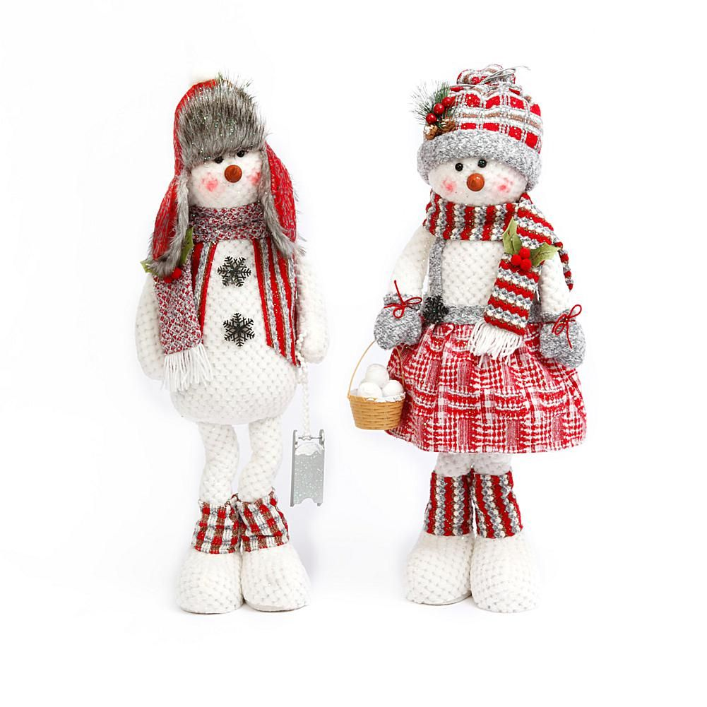Set of 2 28-inch Plush Snowman Figures These plush snowpeople will be a welcome sight this season. Cute and cozy, they'll be right at home in the foyer or by the mantel.