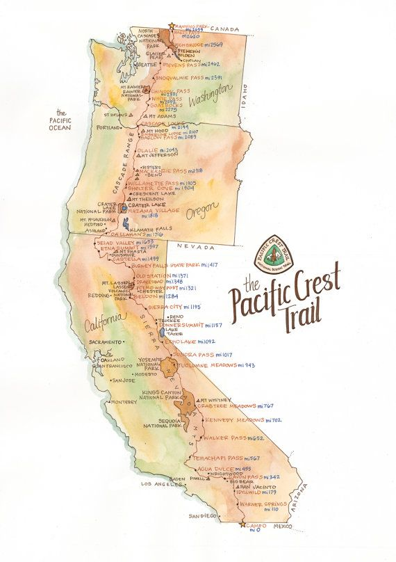 Pct Wall Map Pacific Crest Trail Map Detailed Watercolor PCT Through Hiker Gift
