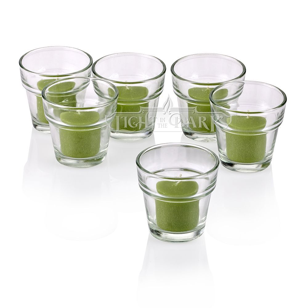 Light clear flower pot votive candle holders with lime votive