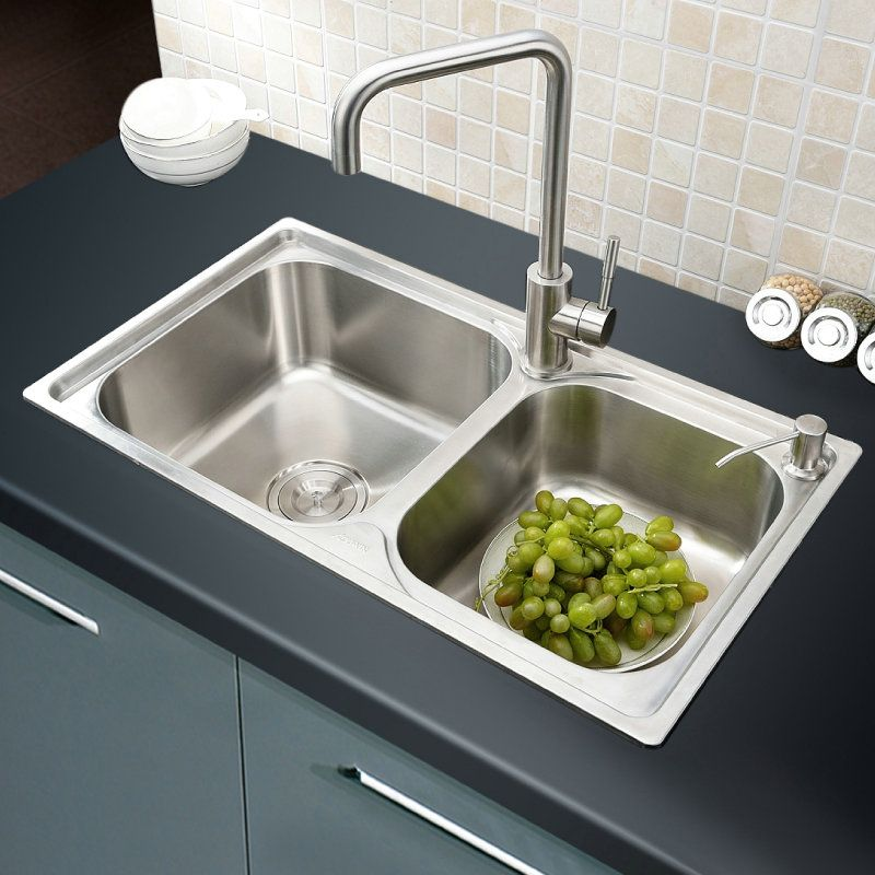 Shop For Modern Simple 304 Stainless Steel Sink Double Bowl