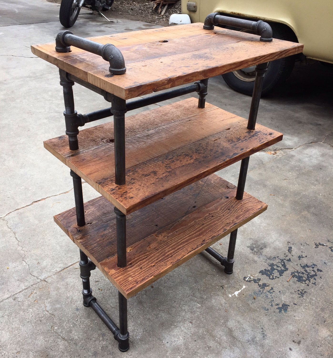 Iron Pipe And Reclaimed Wood Shoe Shelf By Angelcitywoodworks On