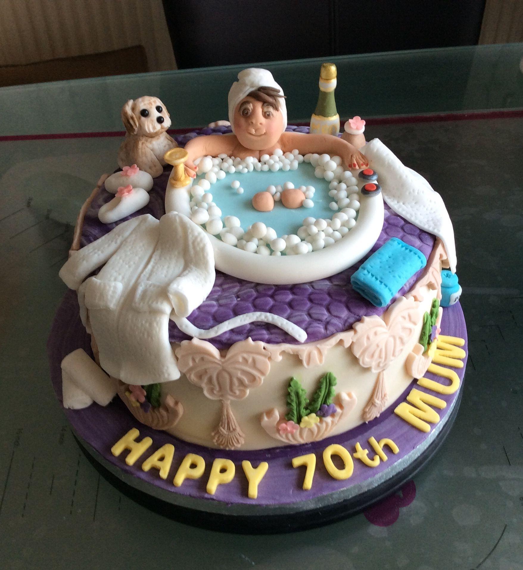 Superb Spa Themed 70Th Birthday Cake Spa Themed 70Th Birthday Cake Personalised Birthday Cards Xaembasilily Jamesorg