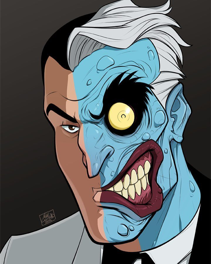 The Split Personality Of The White Knight Of Gotham City And The Two Faced Gangster Psychopath Art Two Face Batman Batman The Animated Series Comic Villains