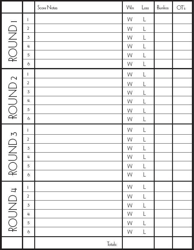 Pin Bunco Score Sheets On   Games    Recipes