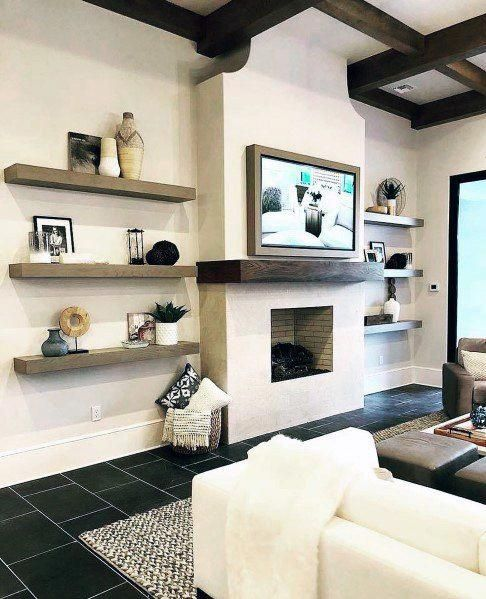 unique television wall with fireplace and wood shelves on incredible tv wall design ideas for living room decor layouts of tv models id=91236
