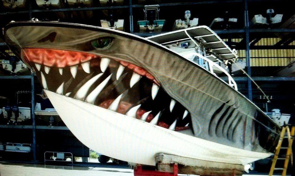 Shark Cool Boat Paint Job Boats Boat Decals Boat
