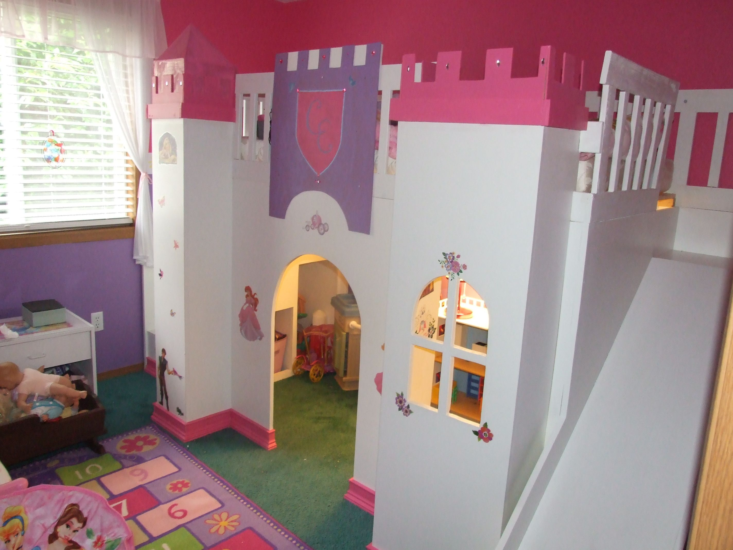 Castle bed with a slide and lights Princess bedrooms