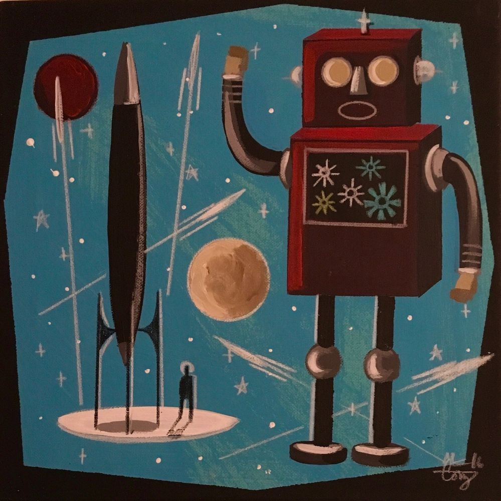 El gato gomez painting retro outer space sci fi rocket for Retro outer space