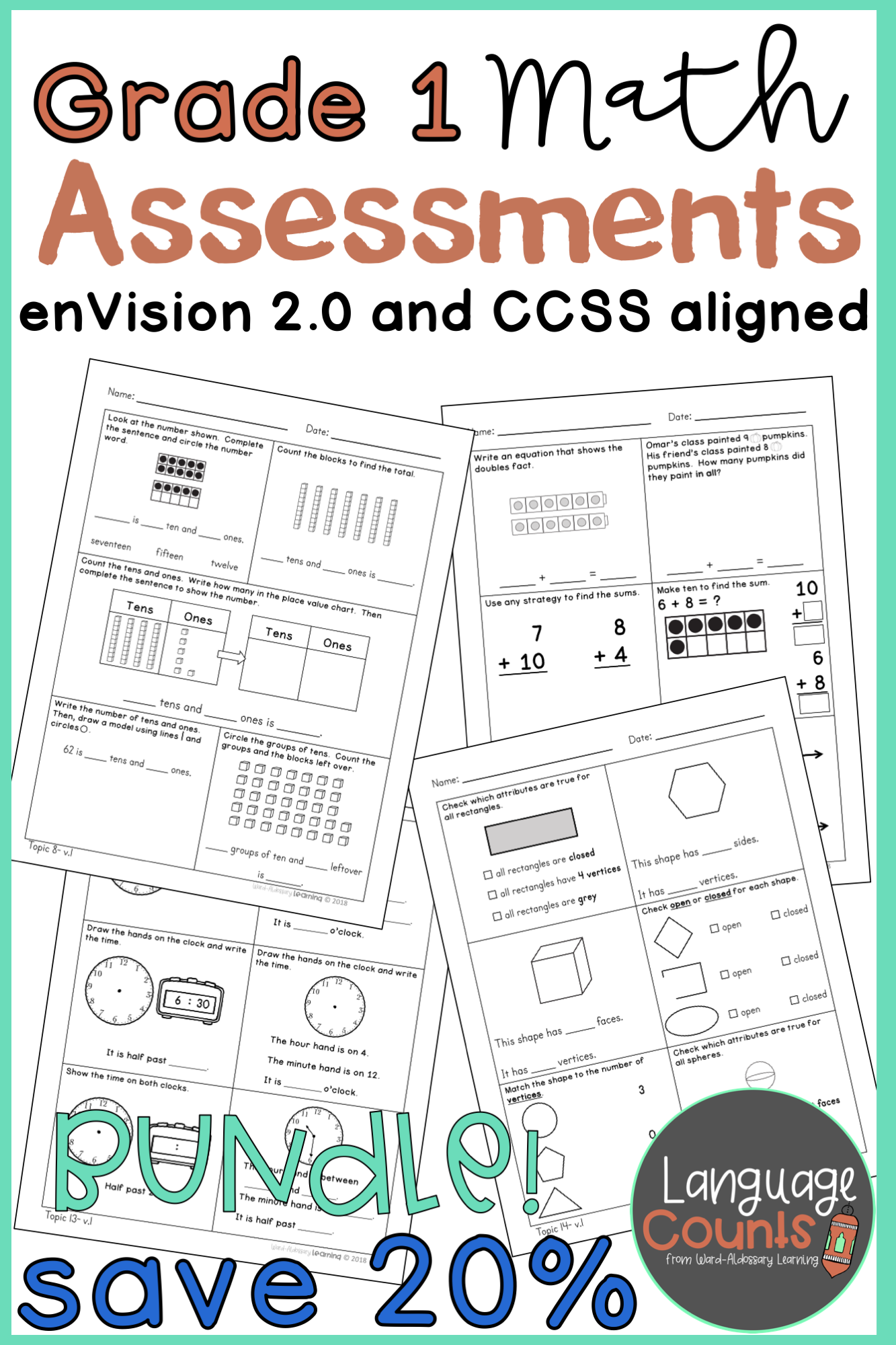 medium resolution of Grade 1 Math Assessments Bundle   Math assessment