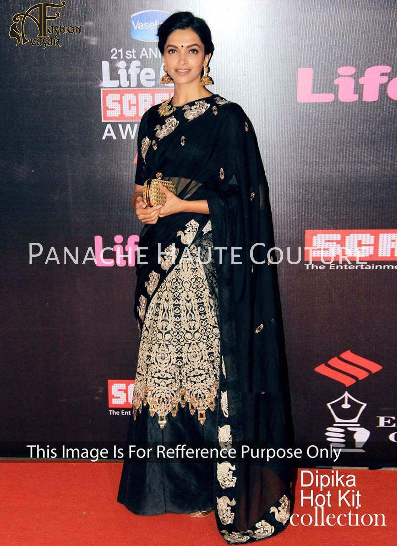 Black colour saree images deepika padukon in black color designer lehenga saree  pinterest