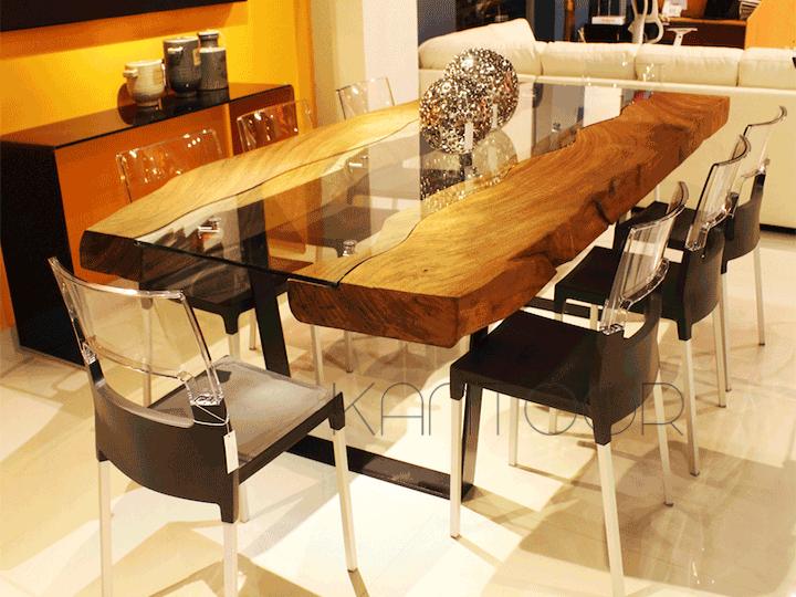 Mesa de parota de con inserto de cristal for Mesas de madera con cristal