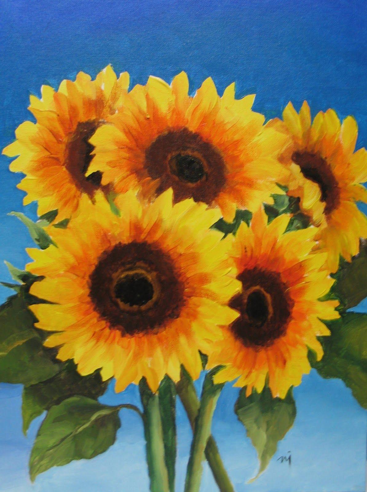 Sunflower painting, Easy canvas painting, Sunflower art