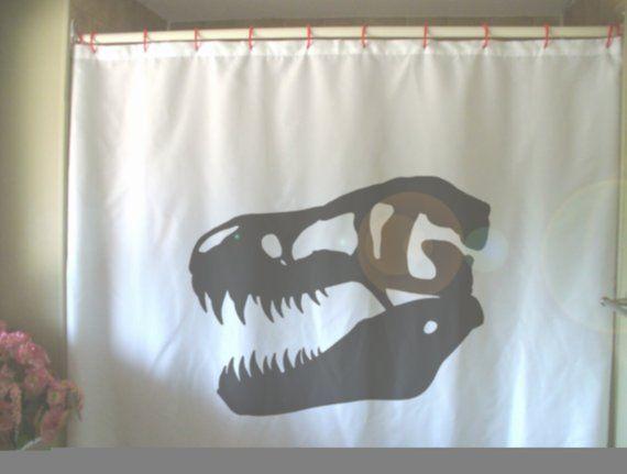 T Rex Skull Shower Curtain Dinosaur Jurassic Monster Jaw Tooth