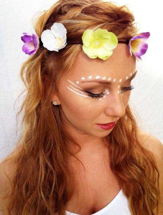 Boho Flower Crown Flower Halo Rave Floral Headpiece Lana Del Rey Inspire Flower Headband Summer Women S Festival Face Paint Festival Face Music Festival Makeup